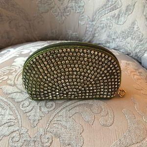Green rhinestone and beaded coin purse.